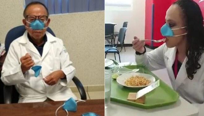 Crean mascarilla nasal para usarlo a la hora de comer y beber